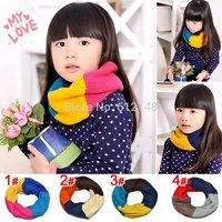 Retail New Hot Baby Girls Scarf Block Decoration Child Muffler Scarves Winter Warm Knitted Scarf Shawl