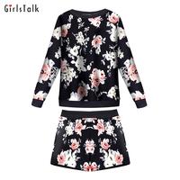 2014 set female fashion long-sleeve print sweatshirt slim shorts twinset female