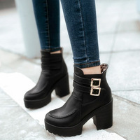 Autumn women's shoes platform thick heel martin boots high-heeled boots ankle-length fashion boots ankle boots,SHO038
