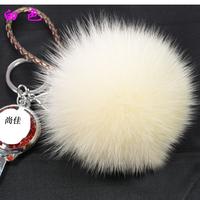 Ultralarge 13-14cm full leather fox fur ball mobile phone chain pendant fox fur bags dust plug