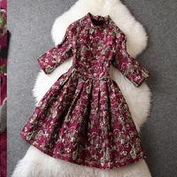 2014 Autumn Fashion DRESS  Vintage elegant three-dimensional Jacquard slim Women's Dresses Half sleeve Winter Dress