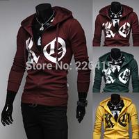 Free Shipping 2014 Men's Slim Casual Hoodies Print KO Sweatshirt Men 3 Colors M-XXL Mens Hoodies And Sweatshirts