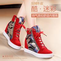 2014 women's elevator shoes high-top shoes cowhide lacing round toe platform shoes