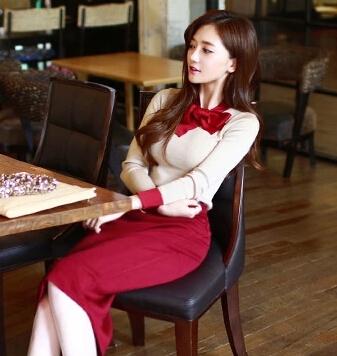 Платье бант милый длинный рукав, свитер женщины украшение костюм-двойка один частей приталенный средняя средний-икры