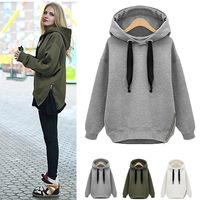 2014 autumn and winter fashion loose plus size women swearshirts medium-long hood pullover zipper plus velvet thickening hoodies