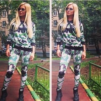 Free Shipping two piece2014 New Women's Green Army print pullover hoodie Top pant sport athletics tracksuit for womens m l