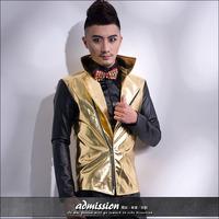 New style Fashion male black gold PU Leather jacket Men's slim suit costume