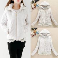 Hot Sale 2014 New Women Winter Jacket Fashion Floral Mandarin Collar Zipper Warm Thicken Hooded Cotton Down Coat B2013