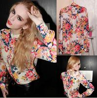hot!!! Broken beautiful chiffon long-sleevedshirt Europe sexy big yards cultivate one's morality Women blouses free shipping H02