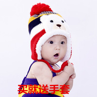 Free shipping autumn winter Plus velvet ear protector cute newborn hat