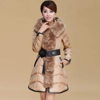 2014 rex rabbit luxury large fur collar slim elegant belt female medium-long down coat
