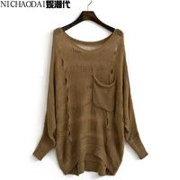 Autumn winny hole cutout batwing sleeve irregular medium-long pullover loose plus size long-sleeve sweater female