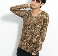 Non-mainstream winny men's clothing 2014 autumn male leopard print slim V-neck long-sleeve male t-shirt clothes
