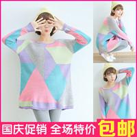 Tangoing irregular color medium-long geometry block decoration sweater outerwear sweater winny