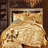 golden silk+Cotton fabric bedding set queen double bed size bedclothes Comforter/Duvet/Quilt cover sheet pillowcase 4pc bed sets