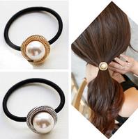 Fashion Round Big Pearl Elastic Hair ties/ Girls' Ponytail Holder Women Hair Accessories