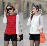 Autumn and Winter Women All-match Hooded Fur Collar Warmer Down Waistcoat Ladies Vest Jacket Size:L-XXL