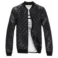 Free shipping Men leather jacket PU stitching fashion leisure men's coat
