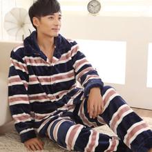 Pijama Hombre Invierno Winter Thickening Coral Fleece Warm Bathrobe Men Pajama Sets Thermal Size XXXL XXXXL(China (Mainland))