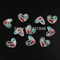 30PCS/LOT Love Heart Design Crystal Rhinestone Bead For 3D Alloy Decoration Nail Art Glitters DIY Tips Manicure Beauty Accessory