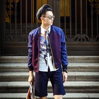 Autumn fashion baseball raglan sleeve outerwear thin male plaid jacket