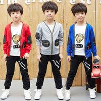 2014 Autumn Korean version of the new boys clothing ( coat + T shirt + pants ) children three-piece suit