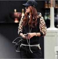 2014 New Leopard print set sweatshirt autumn and winter women set twinset casual set plus size large