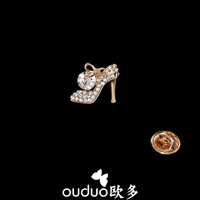 Free Ship Ouduo New Arrival Bow Crystal High-heeled Shoes Brooch Mini Delicate Llittle Brooch Female Blazer Accounterment Jewelr