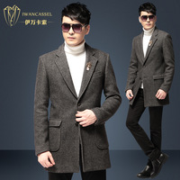 New 2014 Winter Fashion men's woolen overcoat male wool outerwear medium-long british style single breasted quality brand design