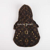 Hot models! Designer dog clothes luxury brand print pet puppy coat jacket with fur hood XS-XL