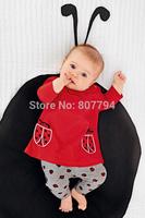 freesshipping! children's clothing fashion autumn female  girl newest set child ladybug cartoon 100% cotton boy set