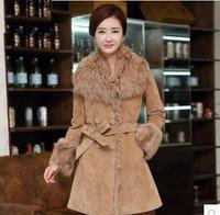 New 2014 Women's Fleece Wool Fur Double-faced Geniune Leather & Suede Coat Medium-long Slim Oversize XL XXL Black Khaki Grey