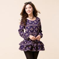 2014 autumn women shirts plus size slim floral print shirt bust skirt one-piece dress long-sleeve shirt lady fat overweight