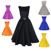 Womens Rockabilly Vintage 50s 60s Swing Free belt Party Cocktail Prom Housewife Peplum Dress