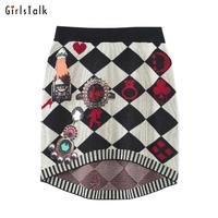 Girlstalk autumn and winter fashion dimond fashion plaid asymmetrical low-high print slim hip knitted short skirt female