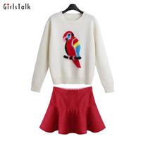 Girlstalk 2014 fashion autumn and winter skirt set female long-sleeve o-neck sweater high waist bust skirt