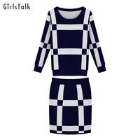 Girlstalk 2014 set female fashion plaid slim long-sleeve knitted one-piece dress