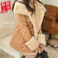2014 autumn and winter outerwear female turn-down collar slim double breasted wool preppy style wool coat female