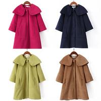 Korean Women Ladies Batwing Wool Oversized Casual Poncho Winter Coat Jacket Loose Cloak Cape Outwear Black Big Size M L B-2020