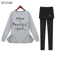 Set small sweatshirt casual dress set plus size sports autumn long-sleeve twinset