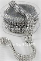 Free shipping3 Row x 10 yards silver rhinestone wrap , bling wedding party decoration diamond ribbon