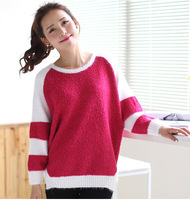 autumn women's fashion color block loose batwing shirt plus size sweater pullover sweater female women sweater ladies sweater