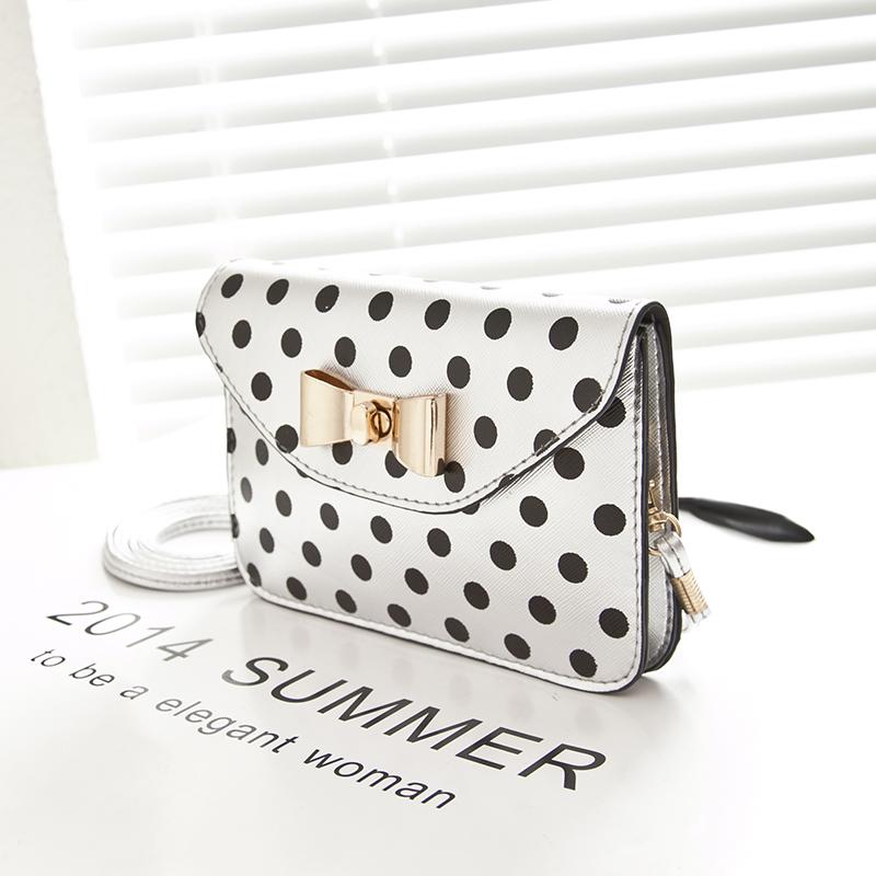 2014 Quality PU Leather Metal Bow Women's Messenger Bag Dot pattern Handbag Satchel Shoulder Cross Body Bag Purse Mobil Pouch(China (Mainland))
