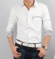 2014 Fashion Suit Shirt Slim Long-sleeve Shirt Applique Pocket Men's Clothing Casual Male Shirt