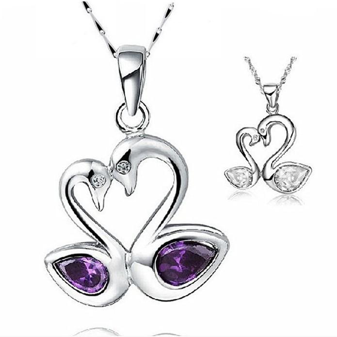 silver jewelry fashion women's mandarin duck necklace pendant rhinestone jewelry(China (Mainland))
