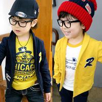 2014 autumn and winter boys girls Knitwear child fleece long-sleeve cardigan