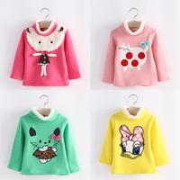 2014 winter cartoon girls clothing baby child long-sleeve plus velvet sweatshirt outerwear tx-4293