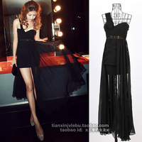 High quality sexy low-cut one shoulder black plus size evening dress banquet one-piece formal dress free shipping
