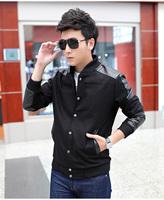Retail&wholesale Spring&Autumn men baseball jacket coat,mans woolen&leather spliced trend,male slim plus size clothing,outerwear