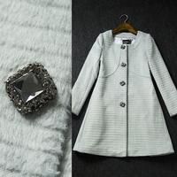 2014 Winter ol Women's gem decoration high quality slim woolen Outerwear medium-long Overcoat